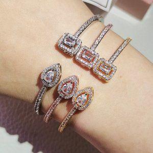 925 Tear Drop & Square Diamond CZ Bangle Bracelet